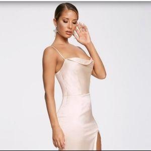 Meshki Cowlneck Medi Dress With Split